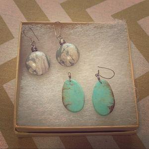 Two Pairs Stone Earrings
